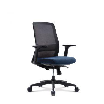 AROUND Silla Operativa respaldar en malla con soporte lumbar ajustable, asiento ajustable en tela , brazos ajustables, regulaciòn de altuta, inclinaciòn sincronizada, multibloqueo del espaldar y base de nylon.  Medidas: 0.65 x 0.60 x 0.95 - 1.02m