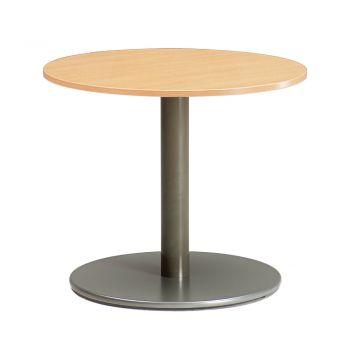 SUPERTECH Mesa redonda en melamina con soporte de pilar central de acero con base de aluminio.