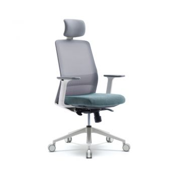 AROUND Silla Operativa con  respaldar en malla con cabezal ajustable, soporte lumbar ajustable, asiento ajustable en tela, brazos ajustables, sistema de inclinación de la silla, regulación de la altura bloqueo y desbloqueo de la reclinación y base de nylon en blanco.   Medidas: 0.67 x 0.56 x 1.14 - 1.25m